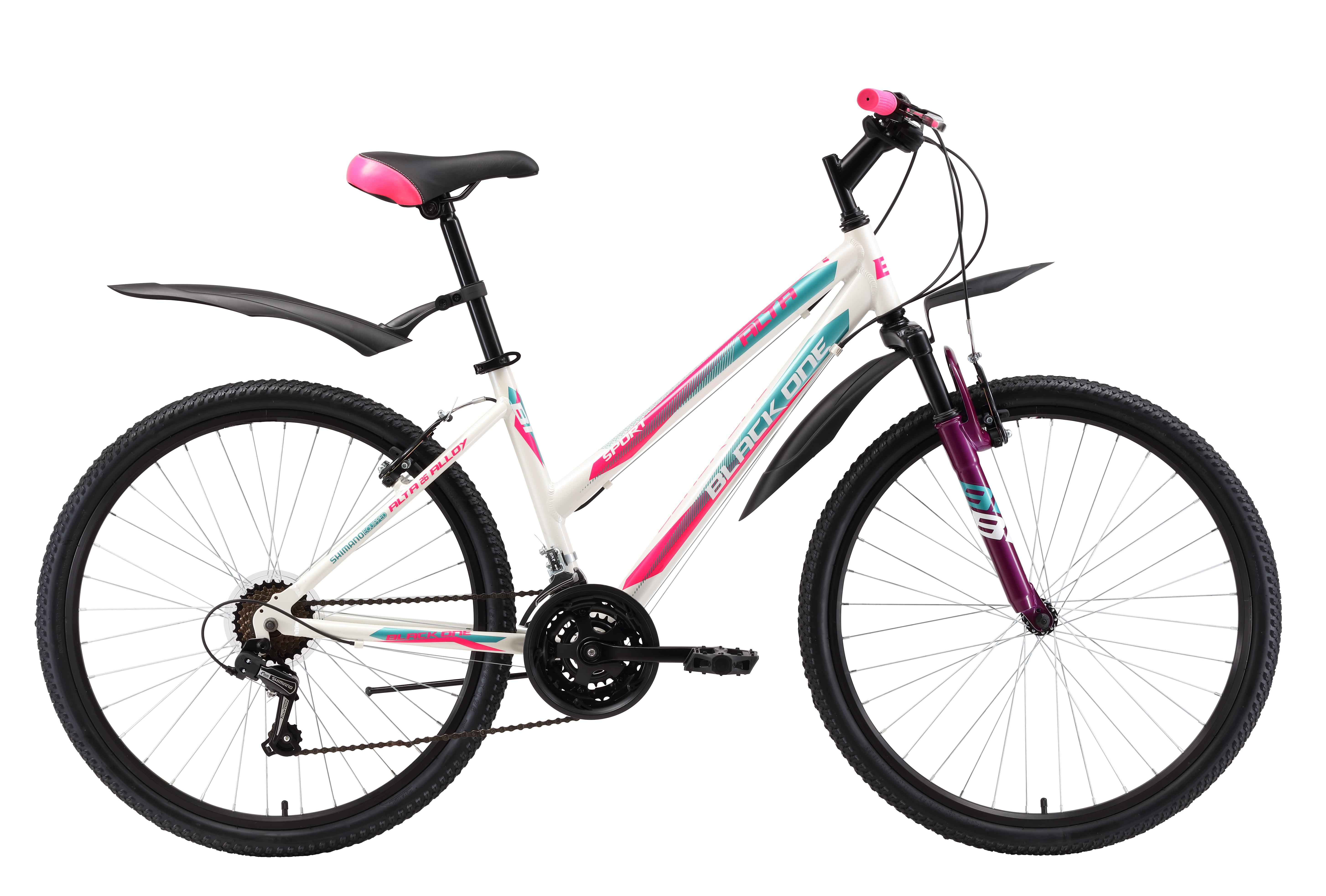 Велосипед Black One Alta 26 Alloy 2018 белый-розовый-голубой 14.5 д