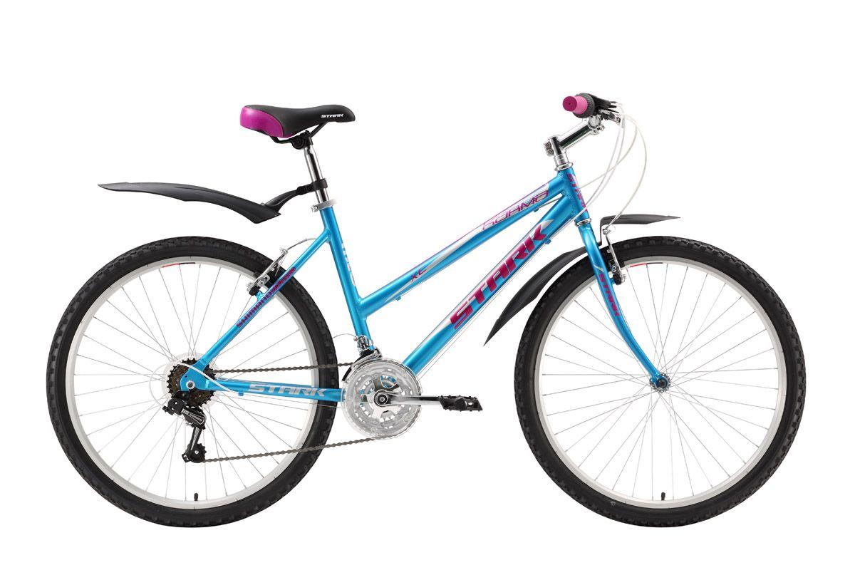 Велосипед Stark Karma (2016) сине-розовый 16СПОРТИВНЫЕ<br>Отличительная черта женского велосипеда Stark Karma  передняя жёсткая вилка. В результате, велосипед имеет не только меньший вес, но и более лёгкий накат. Такая комплектация оправдывает себя, если предполагается катать в парках, на укатанных грунтовых дорогах и по хорошему асфальту. Велосипед, на лёгкой алюминиевой раме, оборудован 18 передачами и ободными тормозами. Выбор передачи выполняется переключателями SHIMANO SL-RS35 (вращение кольца вокруг руля). 26-ти дюймовые колёса на двойных алюминиевых ободах устойчивы к деформациям и отлично выдерживают нагрузки на любой дороге.<br><br>бренд: STARK<br>год: 2016<br>рама: Алюминий (Alloy)<br>вилка: Жесткая (сталь)<br>блокировка амортизатора: Нет<br>диаметр колес: 26<br>тормоза: Ободные (V-brake)<br>уровень оборудования: Начальный<br>количество скоростей: 18<br>Цвет: сине-розовый<br>Размер: 16