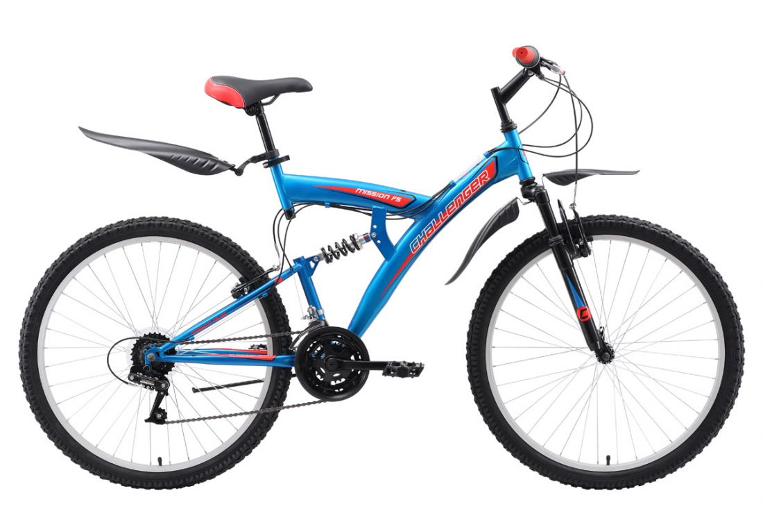 Велосипед Challenger Mission Lux FS 26 2018 чёрный-синий-белый 18 д