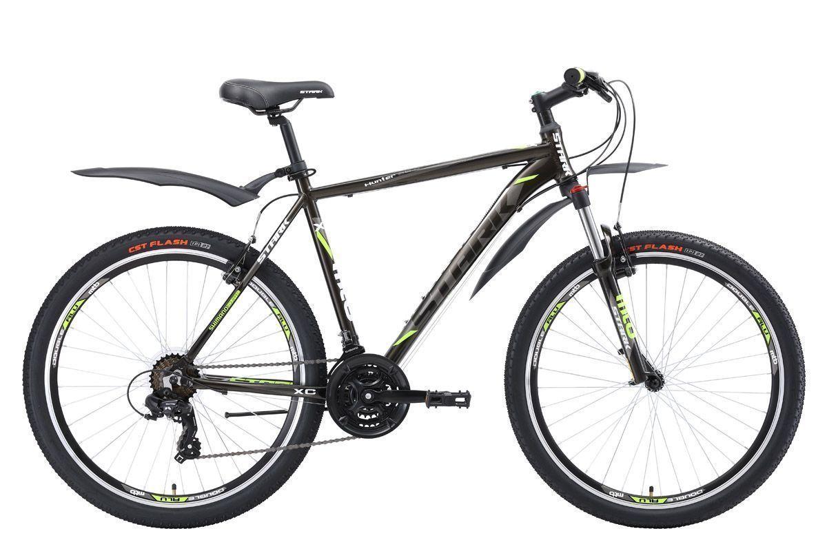 Велосипед Stark Hunter 26.2 V (2018) чёрный/тёмно-серый/зелёный 18КОЛЕСА 26 (СТАНДАРТ)<br>Stark Hunter 26.2 V - надёжный горный велосипед, который отлично подходит для велопрогулок за городом. Рама велосипеда,изготовленная из алюминиевого сплава с применением технологии гидроформовки, имеет малый вес и хороший запас прочности. В распоряжении велосипедиста трансмиссия с 21 передачей, выбор которых осуществляется с помощью переключателей фирмы Shimano. Велосипед оснащён тормозами типа V-brake, эффективными и простыми в эксплуатации. Stark Hunter 26.2 V #40;2018#41; выполнен в сдержанном темно-сером цвете.<br><br>бренд: STARK<br>год: 2018<br>рама: Алюминий (Alloy)<br>вилка: Амортизационная (пружина)<br>блокировка амортизатора: Да<br>диаметр колес: 26<br>тормоза: Ободные (V-brake)<br>уровень оборудования: Начальный<br>количество скоростей: 21<br>Цвет: чёрный/тёмно-серый/зелёный<br>Размер: 18