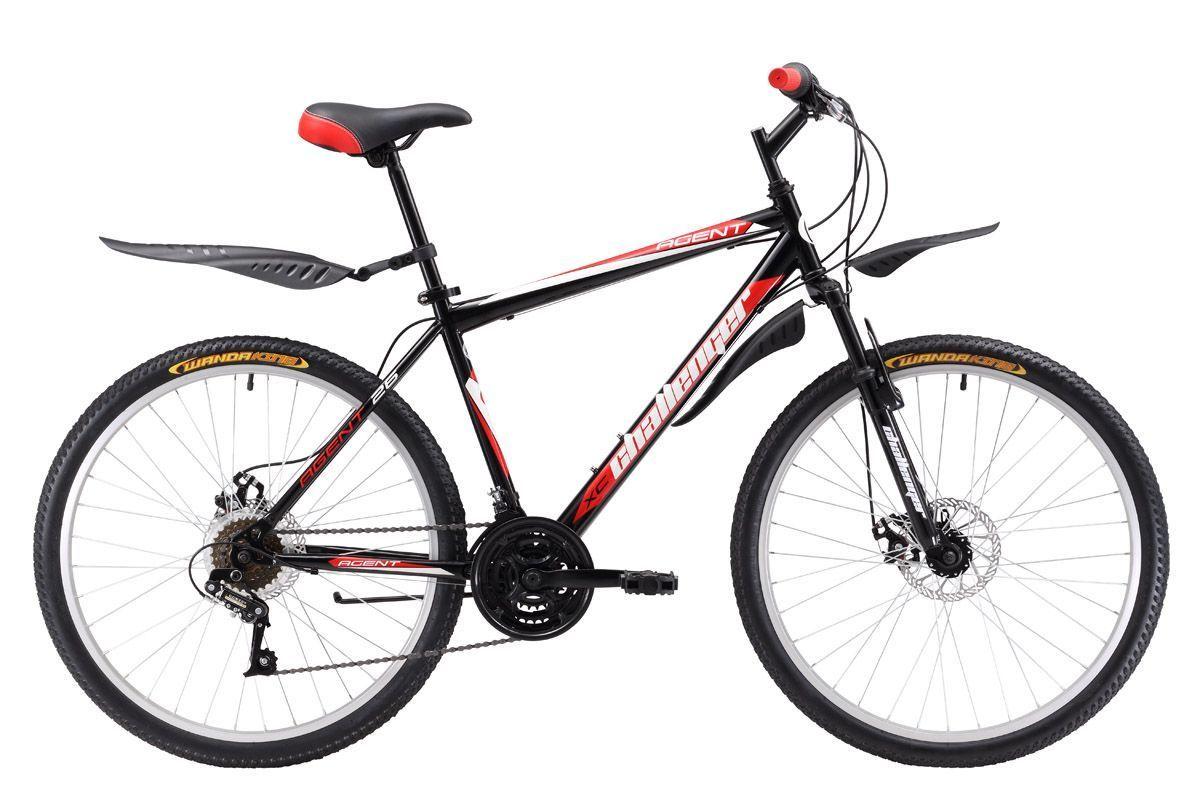 Велосипед Challenger Agent 26 D (2017) черно-серый 18КОЛЕСА 26 (СТАНДАРТ)<br>Горный велосипед, на стальной раме, Challenger Agent 26 D предназначен для прогулочного катания. Велосипед оборудован надёжными дисковыми механическими тормозами, эффективными в любую погоду. Трансмиссия велосипеда имеет 18 скоростей, переключение осуществляется quot;манеткамиquot; типа RevoShift #40;кольцо#41;. Колёса на усиленных ободах крепятся в вилке эксцентриком. Такой тип крепления позволяет легко снять колесо при погрузке в автомобиль. Так же, благодаря эксцентрику, происходит быстрая регулировка седла по высоте. Горный велосипед Challenger Agent 26 D оборудован пластиковыми крыльями и подножкой. Вы также можете выбрать вариант горного велосипеда чуть дешевле и проще, с ободными тормозами - модель Challenger Agent 26.<br><br>бренд: CHALLENGER<br>год: 2017<br>рама: Сталь (Hi-Ten)<br>вилка: Амортизационная (пружина)<br>блокировка амортизатора: Нет<br>диаметр колес: 26<br>тормоза: Дисковые механические<br>уровень оборудования: Начальный<br>количество скоростей: 18<br>Цвет: черно-серый<br>Размер: 18