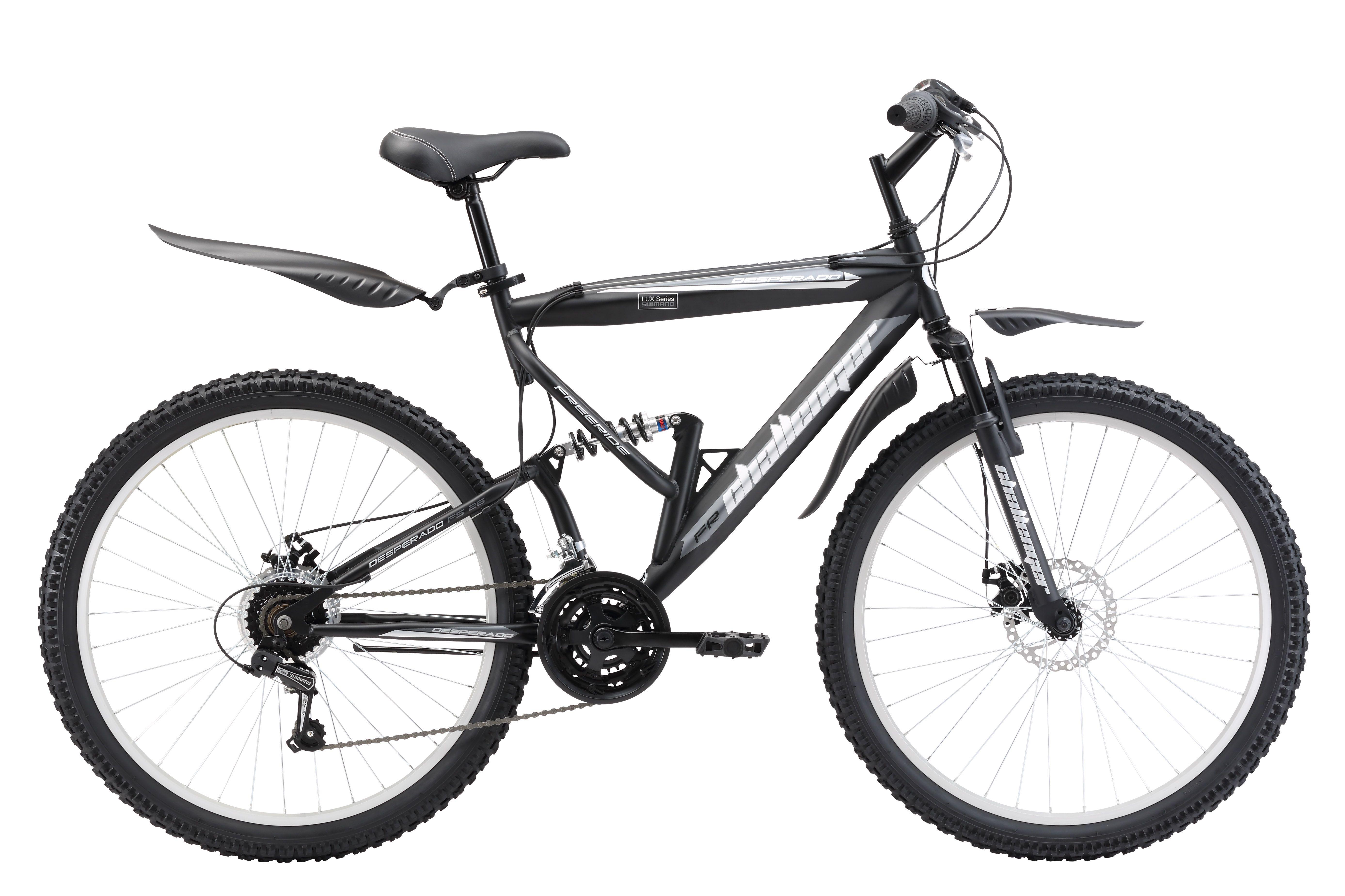 Велосипед Challenger Desperado Lux FS 26 D (2017) черно-серый 18КОЛЕСА 26 (СТАНДАРТ)<br>Велосипед двухподвес Challenger Desperado Lux FS 26 D на стальной раме отлично подходит для прогулочного катания и поездок на природу Передняя и задняя подвески оборудованы пружинными амортизаторами, которые смягчают удары от дорожного покрытия. Велосипед оснащён дисковыми механическими тормозами, которые хорошо служат на бездорожье. Трансмиссия велосипеда имеет 18 скоростей, что позволяет подобрать оптимальную нагрузку, с помощью переключателей Shimano. В комплекте с велосипедом идут пластиковые крылья и подножка, что делает велосипед Challenger Desperado Lux FS 26 D ещё комфортнее.<br><br>бренд: CHALLENGER<br>год: 2017<br>рама: Сталь (Hi-Ten)<br>вилка: Амортизационная (пружина)<br>блокировка амортизатора: Нет<br>диаметр колес: 26<br>тормоза: Дисковые механические<br>уровень оборудования: Начальный<br>количество скоростей: 18<br>Цвет: черно-серый<br>Размер: 18
