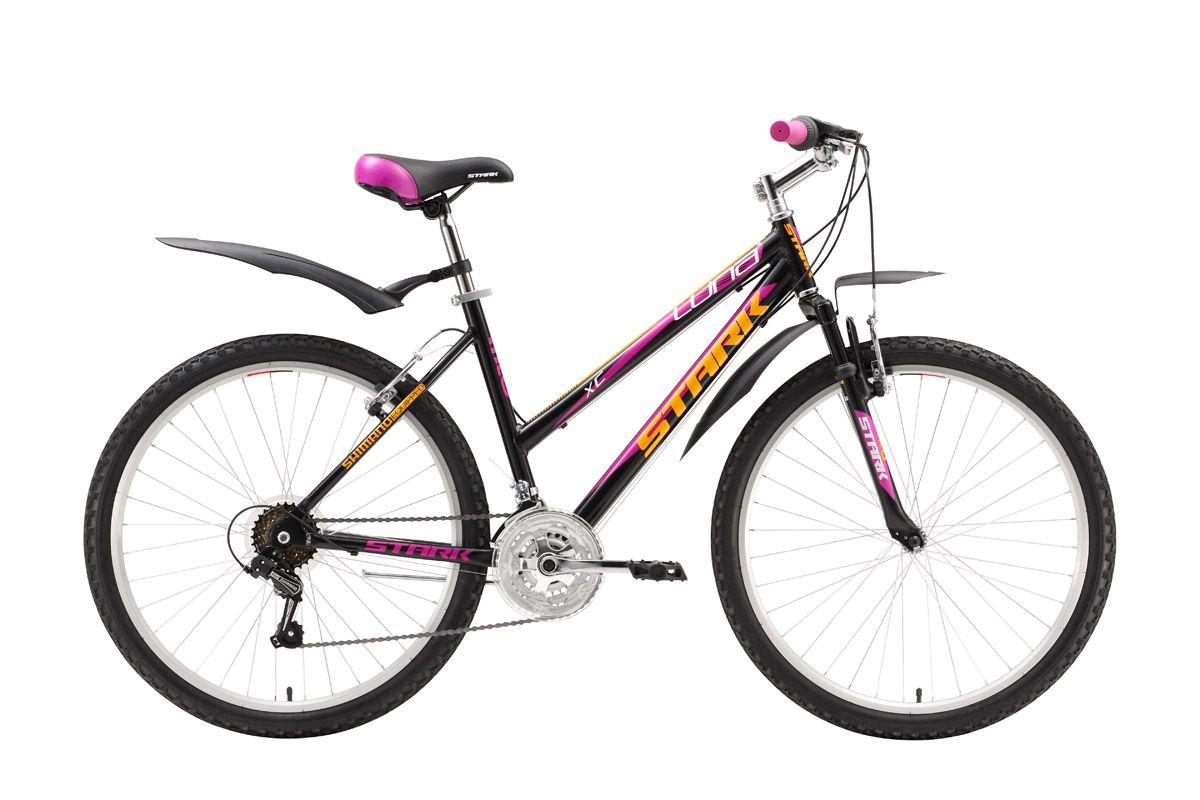 Велосипед Stark Luna (2016) бело-голубой 14.5СПОРТИВНЫЕ<br>Недорогой женский велосипед Stark Luna является, к тому же достаточно лёгким велосипедом благодаря алюминиевой раме и алюминиевым ободам. Производитель не забыл и о комфорте, укомплектовав велосипед крыльями, подножкой, удобными седлом и педалями. Передняя амортизационная вилка снимает часть нагрузки с рук, механизмы фирмы Shimano выполняют чёткие переключения в диапазоне 18 передач, что позволит идеально подобрать скоростной режим как в лесу, парке, так и на асфальте. Женский велосипед Stark Luna подарит море радости своей обладательнице. Модель 2016 года совпадает по комплектации с прошлогодней.<br><br>бренд: STARK<br>год: 2016<br>рама: Алюминий (Alloy)<br>вилка: Амортизационная (пружина)<br>блокировка амортизатора: Нет<br>диаметр колес: 26<br>тормоза: Ободные (V-brake)<br>уровень оборудования: Начальный<br>количество скоростей: 18<br>Цвет: бело-голубой<br>Размер: 14.5