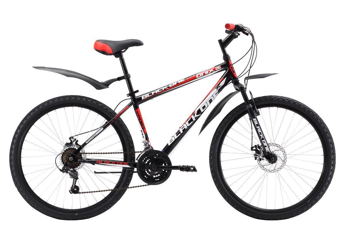 Велосипед Black One Onix 26 D (2017) черно-красный 20КОЛЕСА 26 (СТАНДАРТ)<br>Горный велосипед Black One Onix 26 D, собранный на стальной раме, отлично подходит для прогулочного катания. Велосипед оборудован дисковыми механическими тормозами, обеспечивающими быстрое и эффективное торможение даже на грязных дорогах. В 2017 году производитель усовершенствовал велосипед, увеличив количество передач до 21 скорости и установив курковые переключатели. 26 дюймовые колёса крепятся в вилке эксцентриком, благодаря чему снятие и установка колёс происходит легко и быстро. Для обеспечения большего комфорта, горный велосипед оборудован пластиковыми крыльями и подножкой. Также в нашем магазине представлены варианты горного велосипеда с ободными тормозами – Black One Onix 26 и облегчённая модель, на алюминиевой раме – Black One Onix 26 Alloy.<br><br>бренд: BLACK ONE<br>год: 2017<br>рама: Сталь (Hi-Ten)<br>вилка: Амортизационная (пружина)<br>блокировка амортизатора: Нет<br>диаметр колес: 26<br>тормоза: Дисковые механические<br>уровень оборудования: Начальный<br>количество скоростей: 18<br>Цвет: черно-красный<br>Размер: 20