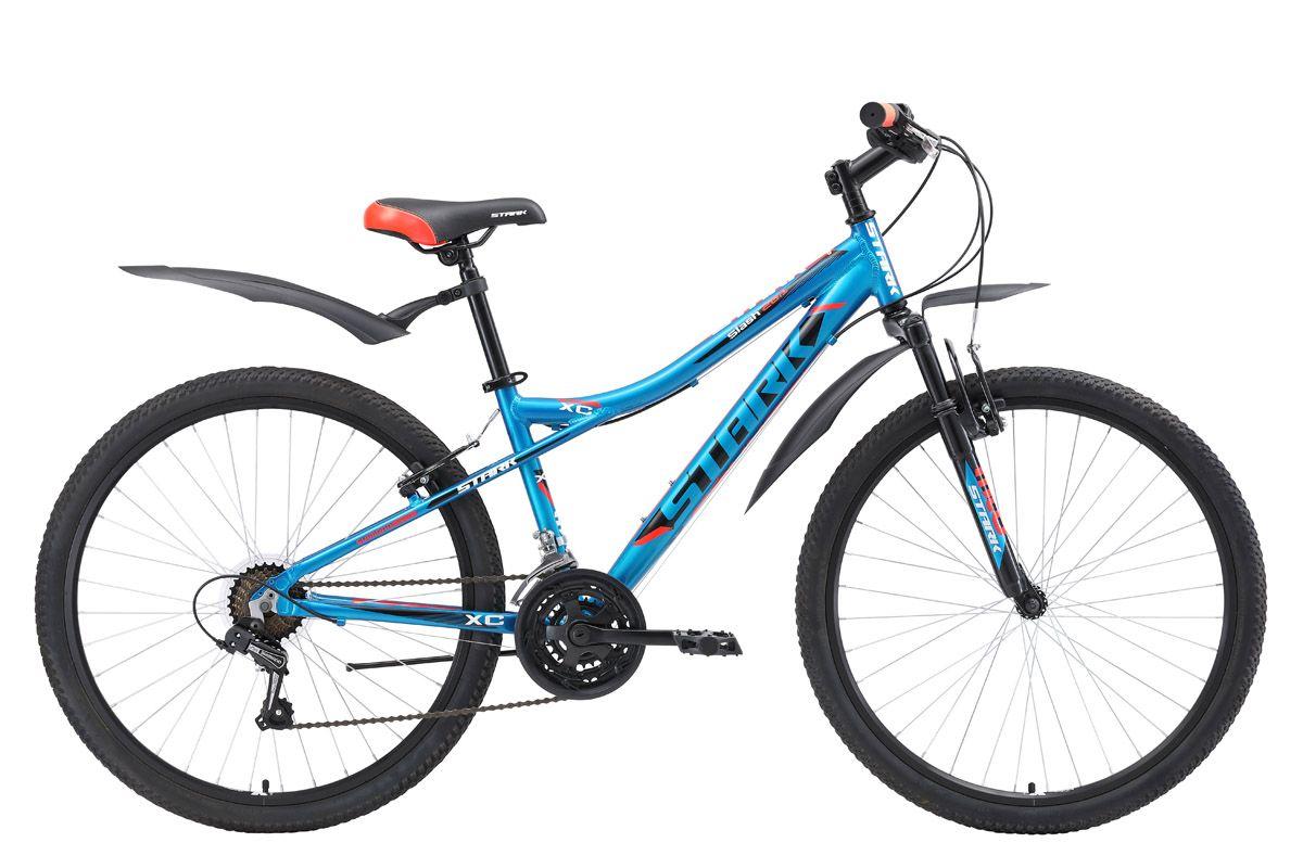 Велосипед Stark Slash 26.1 V (2018) голубой/чёрный/красный 16КОЛЕСА 26 (СТАНДАРТ)<br>Недорогой горный велосипед начального уровня, который хорошо подходит для прогулок в парке и за городом. Stark Slash 26.1 V #40;2018#41;имеет лёгкую алюминиевую раму устойчивую к коррозии. Велосипед оснащён надёжными ободными тормоза типа V-brake, удобными и простыми в эксплуатации. С 2017 года все велосипеды Stark Slash 26.1 оборудованы 21-скоростной трансмиссией. В комплекте с велосипедом идут пластиковые крылья и подножка.<br><br>бренд: STARK<br>год: 2018<br>рама: Алюминий (Alloy)<br>вилка: Амортизационная (пружина)<br>блокировка амортизатора: Нет<br>диаметр колес: 26<br>тормоза: Ободные (V-brake)<br>уровень оборудования: Начальный<br>количество скоростей: 21<br>Цвет: голубой/чёрный/красный<br>Размер: 16