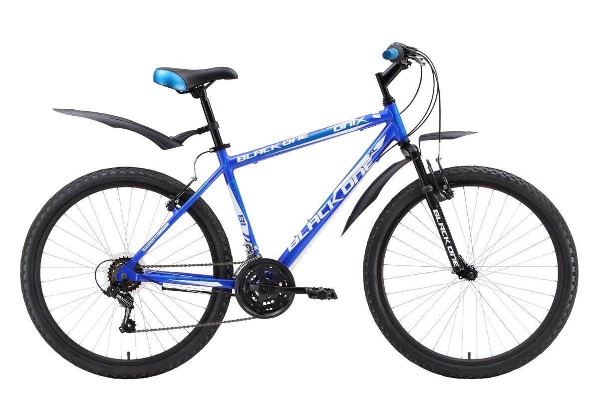 Велосипед Black One Onix Alloy (2016) сине-голубой 18КОЛЕСА 26 (СТАНДАРТ)<br>Классический горный велосипед, Black One Onix Alloy благодаря алюминиевой раме имеет не только меньший вес, но и лучший накат. Для выбора скоростного режима Вы можете подобрать наиболее подходящую из 18-ти передач. Переключение выполняется с помощью механизмов Shimano и переключателей Shimano RevoShift. Горный велосипед Black One Onix Alloy оборудован простыми и надёжными, ободными тормозами типа V-brake. Конструкция и комплектация велосипеда делают его удобным для велопрогулок, как в городе, так и на лесных дорогах. Широкие, быстросъёмные крылья надёжно защищают велосипедиста от брызг. Black One Onix Alloy  это горный велосипед на алюминиевой раме по выгодной цене.<br><br>бренд: BLACK ONE<br>год: 2016<br>рама: Алюминий (Alloy)<br>вилка: Амортизационная (пружина)<br>блокировка амортизатора: Нет<br>диаметр колес: 26<br>тормоза: Ободные (V-brake)<br>уровень оборудования: Начальный<br>количество скоростей: 18<br>Цвет: сине-голубой<br>Размер: 18