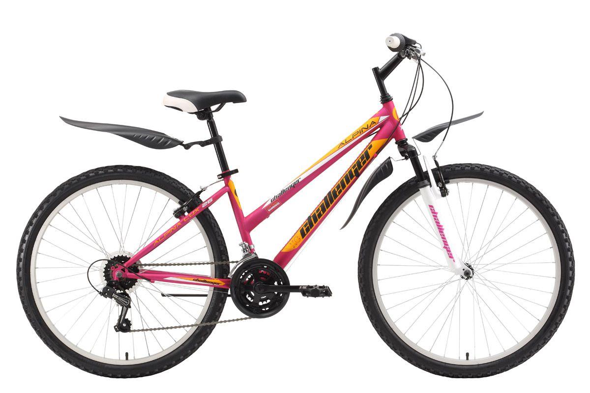 Велосипед Challenger Alpina Lux 26 (2017) розово-желтый 18СПОРТИВНЫЕ<br>Женский горный велосипед на стальной раме Challenger Alpina Lux 26 подходит для прогулочного катания на природе и в городе. Удобная конструкция стальной рамы облегчает посадку и делает велопрогулки комфортными. Переключение между 18 скоростями выполняется переключателями RevoShift и задним механизмом Shimano. Ободные тормоза типа V-brake обеспечивают своевременное торможение. Женский велосипед укомплектован комфортным седлом, надёжными крыльями и подножкой. Велосипед Challenger AlpinaLux 26 доступен в трёх вариантах расцветок.<br><br>бренд: CHALLENGER<br>год: 2017<br>рама: Сталь (Hi-Ten)<br>вилка: Амортизационная (пружина)<br>блокировка амортизатора: Нет<br>диаметр колес: 26<br>тормоза: Ободные (V-brake)<br>уровень оборудования: Начальный<br>количество скоростей: 18<br>Цвет: розово-желтый<br>Размер: 18