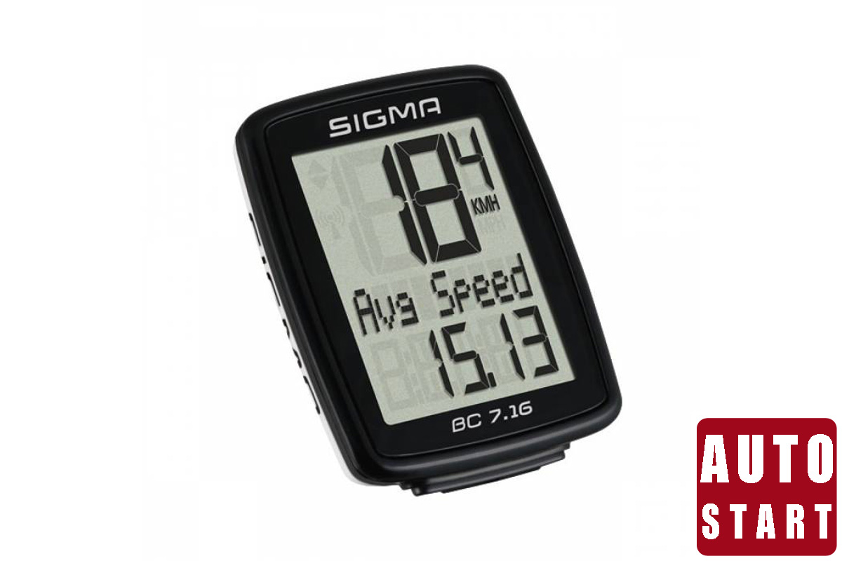 Велокомпьютер Sigma BC 7.16 чёрныйВЕЛОКОМПЬЮТЕРЫ<br>Проводной велокомпьютер Sigma BC 7.16, кроме стандартных характеристик: текущей скорости, пройденного пути и времени поездки, отображает максимальную скорость и текущее время.  Sigma BC 7.16 имеет возможность подключения к ПК. После приобретения программного обеспечения SIGMA DATA CENTER и стыковочного модуля, общие и текущие данные могут быть перенесены на ПК. Кроме того, при помощи ПК можно производить настройку велокомпьютера.   Водонепроницаемое исполнение согласно стандарта IPx8.        Гарантия: SIGMA SPORT предоставляет на компьютер гарантию сроком на 2 года с даты покупки. Гарантия распространяется на дефекты материала и исполнения самого компьютера, датчика/передатчика и рулевого крепления. Гарантия не распространяется на кабели и батарейки, а также монтажные материалы. Гарантия действительна только в том случае, если соответствующие изделия не вскрывались (исключение: отсек компьютера для батареек), не применялась грубая сила, и нет следов преднамеренного повреждения.      На этой странице, вы можете скачать полную инструкцию для велокомпьютеров Sigma BC 7.16<br><br>бренд: SIGMA<br>год: Всесезонный<br>рама: None<br>вилка: None<br>блокировка амортизатора: None<br>диаметр колес: None<br>тормоза: None<br>уровень оборудования: None<br>количество скоростей: None<br>Цвет: чёрный<br>Размер: None