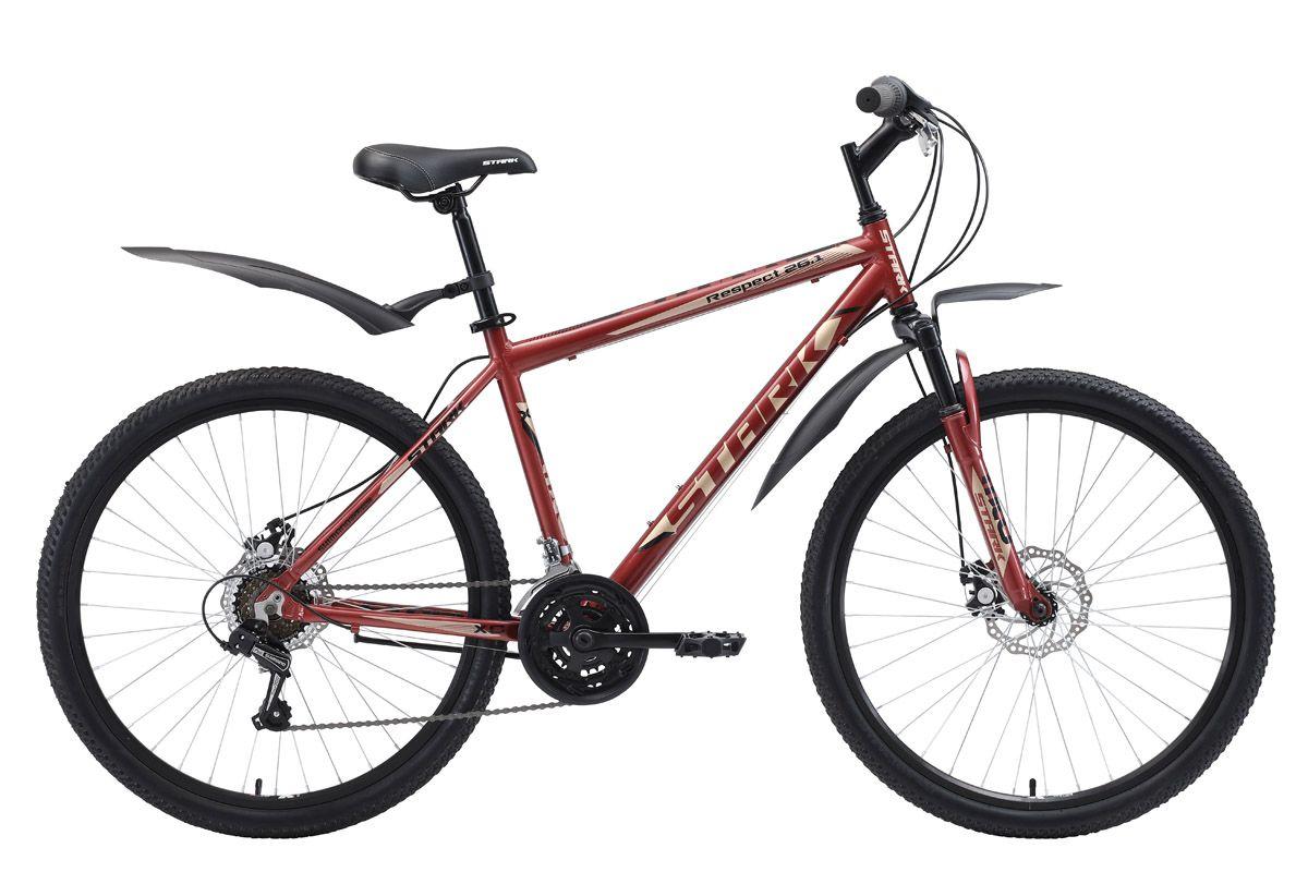 Велосипед Stark Respect 26.1 D (2018) тёмно-коричневый/бежевый/чёрный 16КОЛЕСА 26 (СТАНДАРТ)<br>Stark Respect 26.1 D #40;2018#41; - горный велосипед начального уровня, который отлично подходит дляпрогулок на природе. Лёгкая алюминиевая рама позволяет велосипеду хорошо маневрировать и набирать скорость. Stark Respect 26.1 D имеет вынос, который позволяет настраивать высоту руля. Данная модель оснащена передней амортизационной вилкой, полуинтегрированной рулевой колонкой, а также комфортными переключателями передач известного бренда Shimano. Трансмиссия велосипеда имеет 18 скоростей. За эффективное торможение отвечают надёжные дисковые тормоза. Велосипед Stark Respect 26.1 D #40;2018#41; выпускается в сине-зелёном и коричнево-бежевом цвете.<br><br>бренд: STARK<br>год: 2018<br>рама: Алюминий (Alloy)<br>вилка: Амортизационная (пружина)<br>блокировка амортизатора: Нет<br>диаметр колес: 26<br>тормоза: Дисковые механические<br>уровень оборудования: Начальный<br>количество скоростей: 18<br>Цвет: тёмно-коричневый/бежевый/чёрный<br>Размер: 16