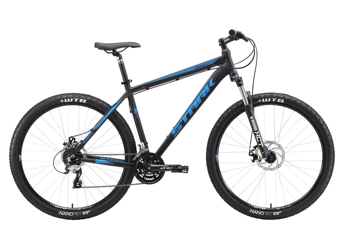 Велосипед Stark Funriser 29.4 D (2018) чёрный/голубой 20КОЛЕСА 29 (НАЙНЕРЫ)<br>Горный велосипед Stark Funriser 29.4 D #40;2018#41; - предназначен для туристического и прогулочного катания по любому дорожному покрытию. Велосипед собран на крепкой алюминиевой раме с полуинтегрированной рулевой колонкой, оборудован механическими дисковыми тормозами и колёсами большого диаметра - 29 дюймов. 24 передачи позволяют велосипедисту уверенно чувствовать себя на дорогах с самым сложным рельефом. Передняя мягкая вилка Suntour имеет ход амортизатора 100мм, и оборудована предварительной настройкой жёсткости. Колёса собраны на двойных алюминиевых ободах, которые делают колесо крепким и накатистым. Хорошее сцепление с дорогой обеспечивают покрышки WTB, шириной 2,1 дюйма. Переключение передач выполняется с помощью оборудования Shimano - переключатели уровня ALTUS и ACERA. Для управления передачами, на руле установлены курковые переключатели. Большие колёса, диаметром 29 дюймов, легче проходят мелкие препятствия и улучшают накат велосипеда. Дисковые тормоза создают хорошее тормозное усилие и эффективны не только на асфальте, но и на бездорожье, в любую погоду.<br><br>бренд: STARK<br>год: 2018<br>рама: Алюминий (Alloy)<br>вилка: Амортизационная (масло)<br>блокировка амортизатора: Нет<br>диаметр колес: 29<br>тормоза: Дисковые механические<br>уровень оборудования: Любительский<br>количество скоростей: 24<br>Цвет: чёрный/голубой<br>Размер: 20