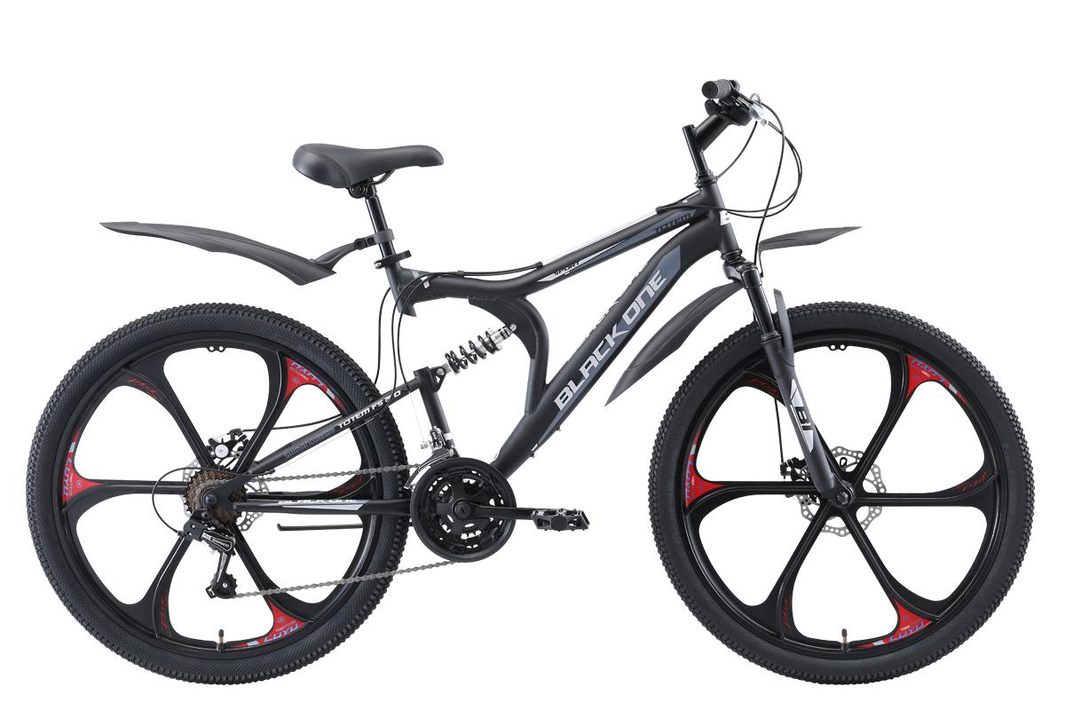 Велосипед Black One Totem FS 26 D FW 2019 чёрный-серый-серебристый 18 д