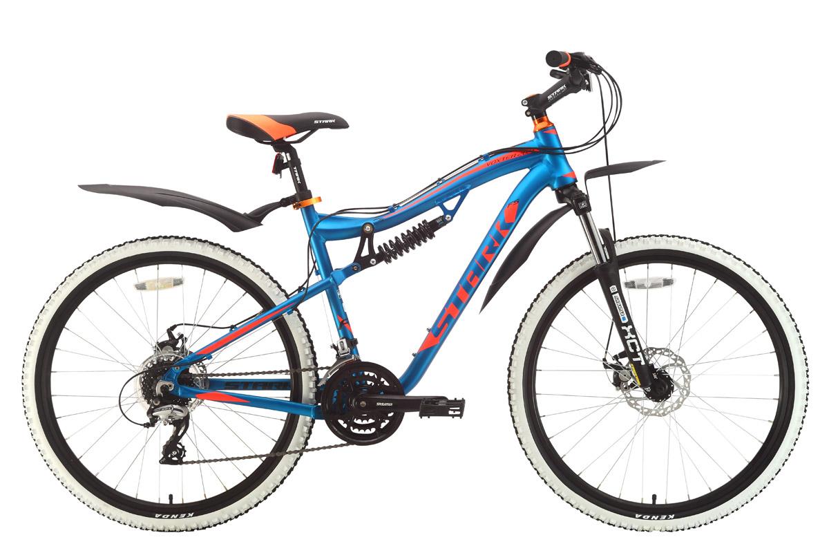 Велосипед Stark Voxter 26.4 FS D 2018 голубой-оранжевый-чёрный 20 д