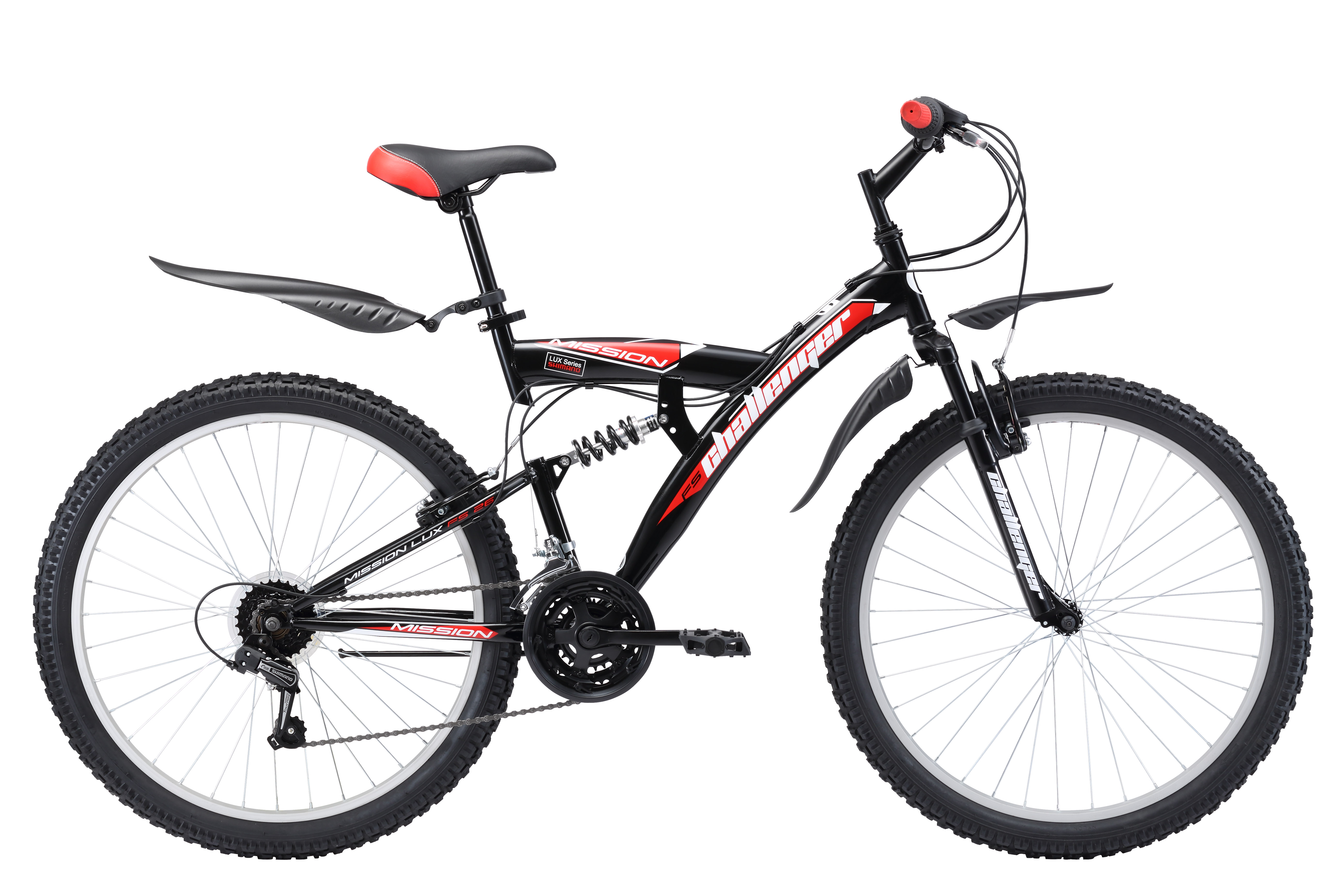 Велосипед Challenger Mission Lux FS 26 (2017) черно-синий 16КОЛЕСА 26 (СТАНДАРТ)<br>Двухподвес Challenger Mission Lux FS 26 предназначен для прогулочного катания и выездов на природу. Велосипед собран на крепкой стальной раме. Передняя и задняя подвеска отрабатывают неровности дороги и делают велопрогулки комфортными. Ободные тормоза эффективны и просты в эксплуатации. Двухподвес имеет 18 передач, выбор которых легко выполняется переключателями RevoShift и задним переключателем Shimano. Велосипед Challenger Mission Lux FS 26 оборудован крыльями и подножкой.<br><br>бренд: CHALLENGER<br>год: 2017<br>рама: Сталь (Hi-Ten)<br>вилка: Амортизационная (пружина)<br>блокировка амортизатора: Нет<br>диаметр колес: 26<br>тормоза: Ободные (V-brake)<br>уровень оборудования: Начальный<br>количество скоростей: 18<br>Цвет: черно-синий<br>Размер: 16