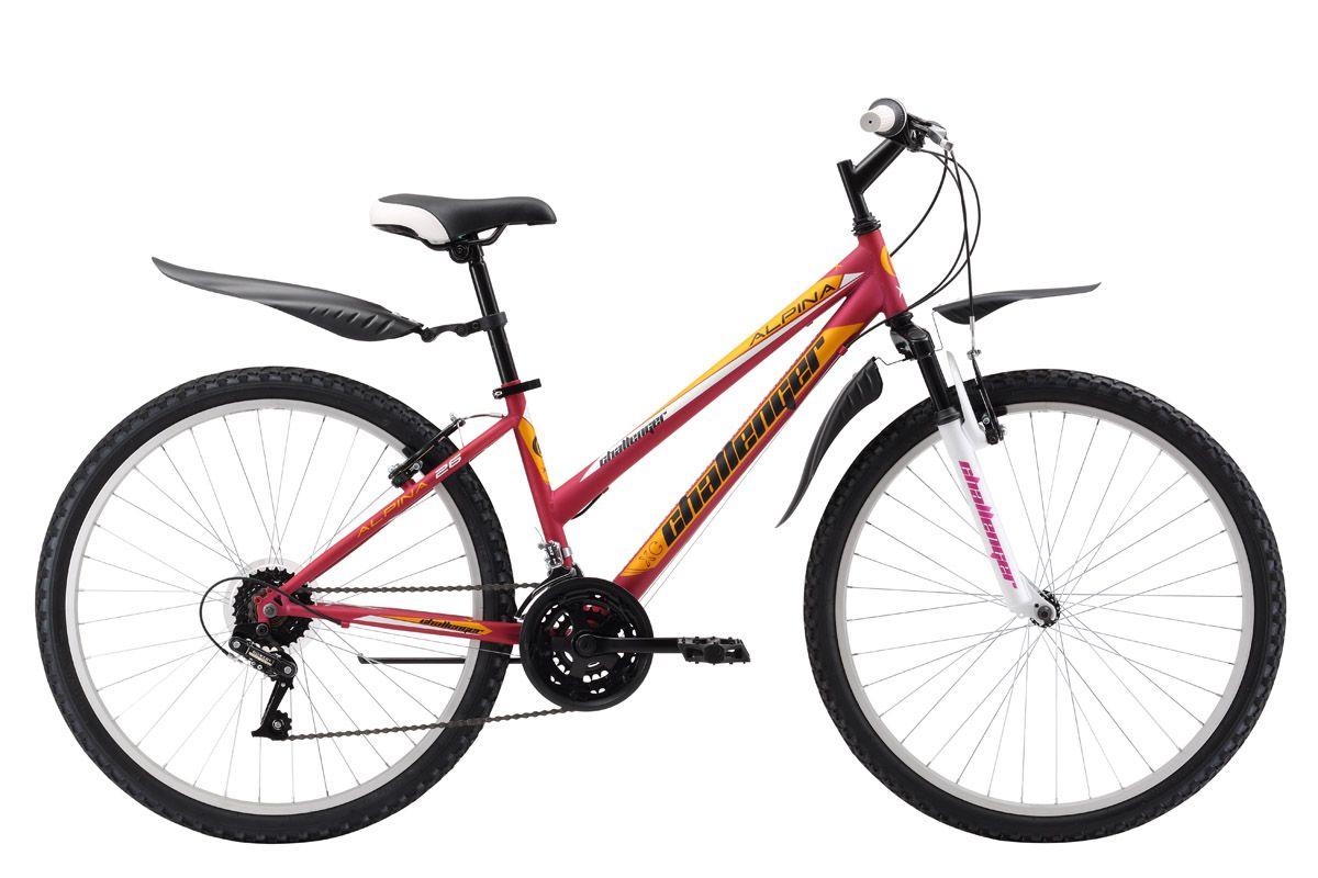Велосипед Challenger Alpina 26 (2017) розово-желтый 16СПОРТИВНЫЕ<br>Горный женский велосипед на стальной раме Challenger Alpina 26 подходит для прогулок на свежем воздухе в городских парках. Трансмиссия велосипеда имеет 18 скоростей, что позволяет подобрать подходящую нагрузку. Ободные тормоза типа V-brake обеспечивают своевременное торможение. Велосипед укомплектован комфортным седлом, пластиковыми крыльями и подножкой. Производитель предлагает велосипед Challenger Alpina 26 в трёх вариантах расцветок.<br><br>бренд: CHALLENGER<br>год: 2017<br>рама: Сталь (Hi-Ten)<br>вилка: Амортизационная (пружина)<br>блокировка амортизатора: Нет<br>диаметр колес: 26<br>тормоза: Ободные (V-brake)<br>уровень оборудования: Начальный<br>количество скоростей: 18<br>Цвет: розово-желтый<br>Размер: 16