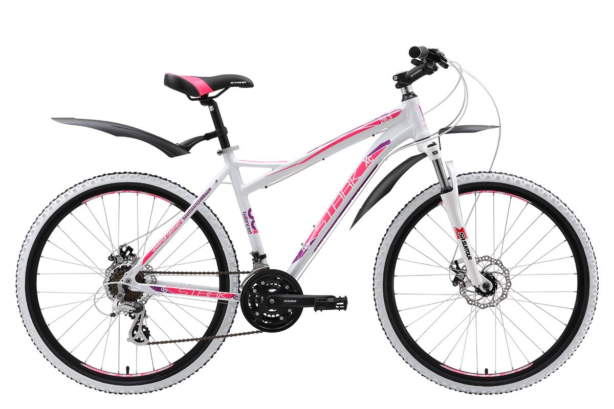 Велосипед Stark Ultra 26.3 D (2017) бело-розовый 16СПОРТИВНЫЕ<br>Красивый горный женский велосипед, предназначенный для катания по просёлочным дорогам и лесным тропинкам. Рама модели произведена из высокотехнологичного алюминиевого сплава и имеет небольшой вес и хороший запас прочности. Дисковые механические тормоза, установленные на этой модели, безупречно функционируют в любых погодных условиях. Амортизационная вилка Suntour M-3030 preload оборудована функцией регулировки предварительной нагрузки. Велосипед оснащён 21-скоростной трансмиссией и переключателями SHIMANO. Stark Ultra 26.3 D выбор девушек, которые предпочитают активный отдых и спортивный досуг.<br><br>бренд: STARK<br>год: 2017<br>рама: Алюминий (Alloy)<br>вилка: Амортизационная (пружина)<br>блокировка амортизатора: Да<br>диаметр колес: 26<br>тормоза: Дисковые механические<br>уровень оборудования: Начальный<br>количество скоростей: 21<br>Цвет: бело-розовый<br>Размер: 16