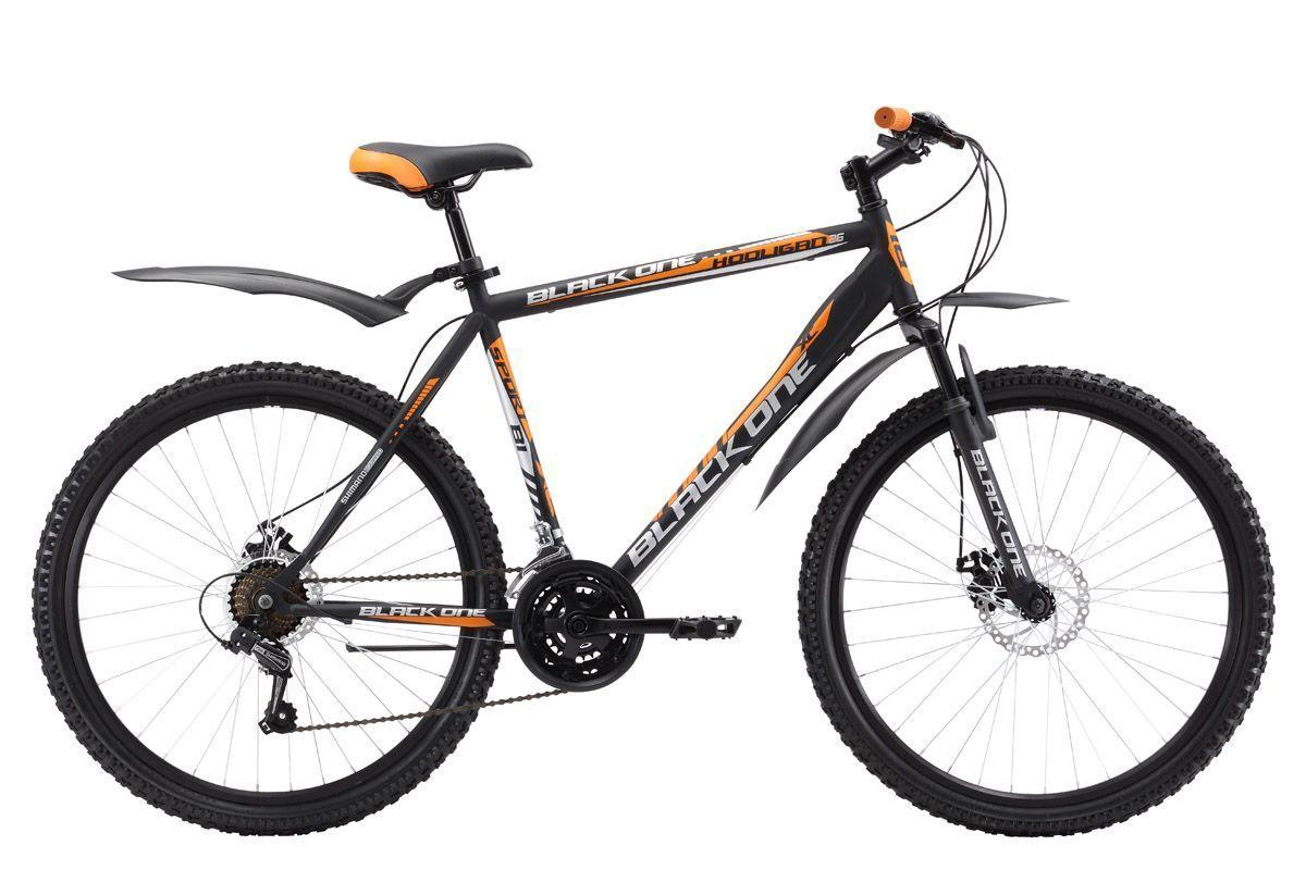 Велосипед Black One Hooligan 26 D (2017) черно-оранжевый 18КОЛЕСА 26 (СТАНДАРТ)<br>Горный велосипед Black One Hooligan 26 D имеет усиленную конструкцию стальной рамы, за счёт более мощных перьев задней вилки и крепления рулевого стакана. Велосипед укомплектован дисковыми тормозами, сохраняющими свою эффективность в плохую погоду. Трансмиссия велосипеда имеет 21 скорость, что позволяет подобрать оптимальную нагрузку. Выбор подходящей передачи осуществляется курковыми переключателями. 26 дюймовые колёса, с двойными ободами, крепятся в вилке эксцентриком. Такой тип крепления удобен при погрузке велосипеда в автомобиль, так как позволяет быстро снять колесо. Велосипед Black One Hooligan 26 D укомплектован крыльями и подножкой.<br><br>бренд: BLACK ONE<br>год: 2017<br>рама: Сталь (Hi-Ten)<br>вилка: Амортизационная (пружина)<br>блокировка амортизатора: Нет<br>диаметр колес: 26<br>тормоза: Дисковые механические<br>уровень оборудования: Начальный<br>количество скоростей: 18<br>Цвет: черно-оранжевый<br>Размер: 18