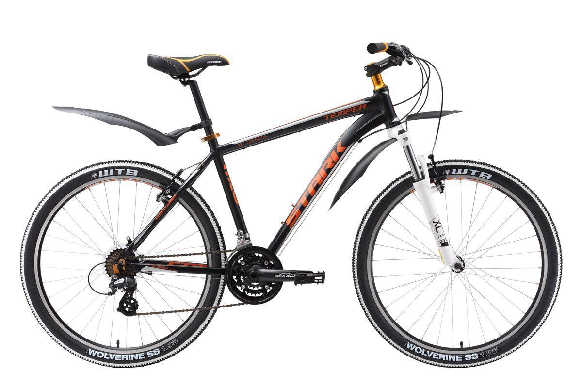 Велосипед Stark Temper (2016) черно-оранжевый 20КОЛЕСА 26 (СТАНДАРТ)<br>Для прогулок по пересечённой местности, предлагаем выбрать велосипед Stark Temper. Передняя амортизационная вилка с ходом 63 мм от известной фирмы Suntour, позволит вашему велосипеду эффективно отрабатывать препятствия, которые часто встречаются во время велопоходов. Переключатели-полуавтоматы Shimano ST-EF51 и задний переключатель Shimano Altus обеспечат плавный выбор нагрузки и скорости. В базовой комплектации горного велосипеда идут покрышки Kenda с протектором оптимальным для грунтовых дорог. Множество радостных минут подарит вам выбор горного велосипеда Stark Temper в нашем интернет-магазине. Stark Temper 2016 года незначительно отличается комплектацией от прошлогодней модели.<br><br>бренд: STARK<br>год: 2016<br>рама: Алюминий (Alloy)<br>вилка: Амортизационная (пружина)<br>блокировка амортизатора: Нет<br>диаметр колес: 26<br>тормоза: Ободные (V-brake)<br>уровень оборудования: Начальный<br>количество скоростей: 21<br>Цвет: черно-оранжевый<br>Размер: 20