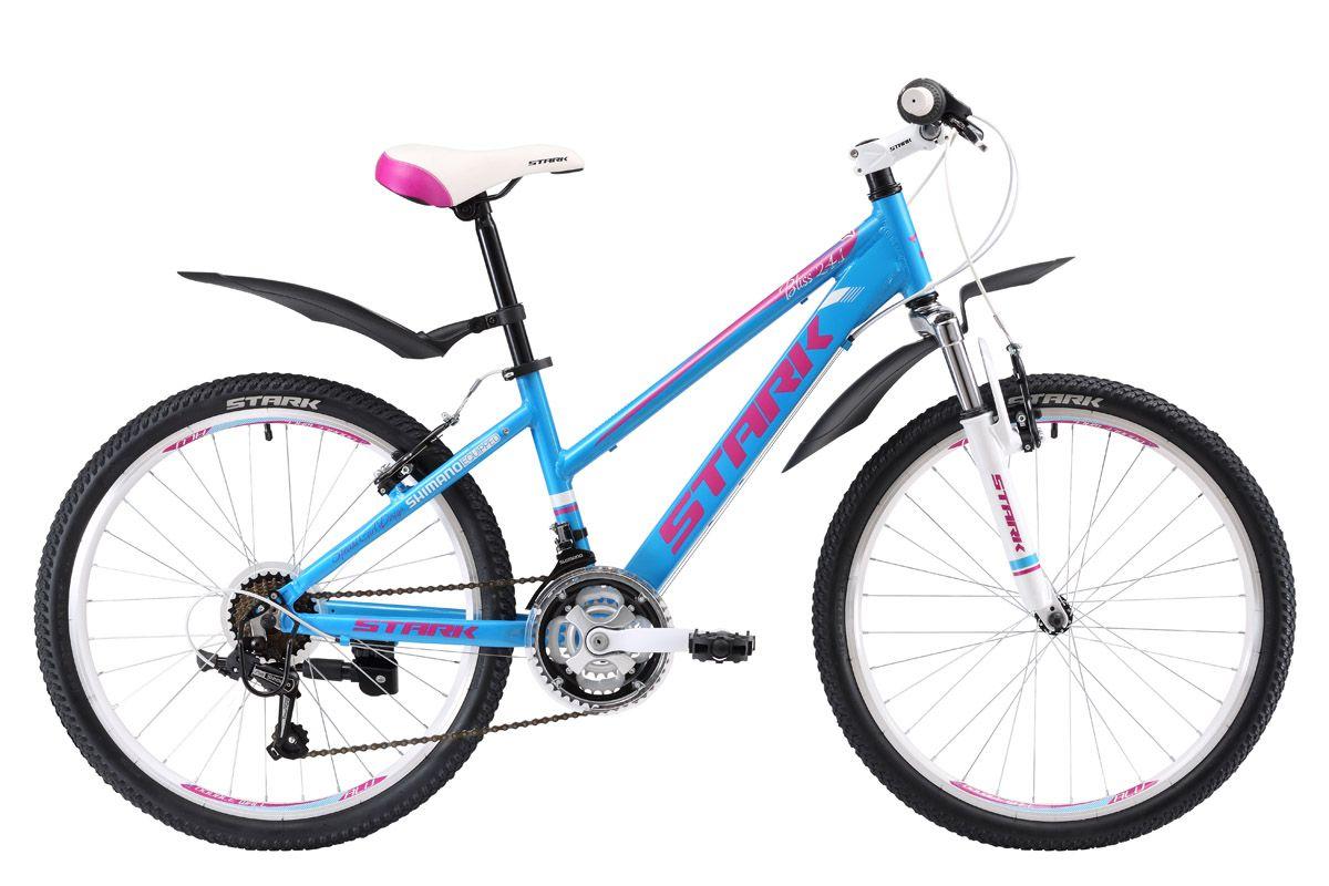 Велосипед Stark Bliss 24.1 V (2017) сине-розовый one sizeОТ 9 ДО 13 ЛЕТ (24-26 ДЮЙМОВ)<br>Восхитительный дизайн велосипеда Stark Bliss 24.1 V наверняка понравится девочкам 8 - 12 лет, ростом от 127 до 155см. Этот велосипед станет первым шагом к освоению взрослого велосипеда. На данной модели установлена трансмиссия, имеющая 21 скорость, что позволит вашему ребенку, научиться правильно подбирать и переключать скорости, а поможет в этом переключатель SHIMANO. Велосипед оборудован ободными тормозами V-brake, лёгкой алюминиевой рамой и мягкой амортизационной вилкой. Покрышки подчёркивают изысканный дизайн велосипеда. Мягкое седло, широкие педали и быстросъёмные крылья обеспечивают комфорт во время прогулок.<br><br>бренд: STARK<br>год: 2017<br>рама: Алюминий (Alloy)<br>вилка: Амортизационная (пружина)<br>блокировка амортизатора: Нет<br>диаметр колес: 24<br>тормоза: Ободные (V-brake)<br>уровень оборудования: Начальный<br>количество скоростей: 21<br>Цвет: сине-розовый<br>Размер: one size