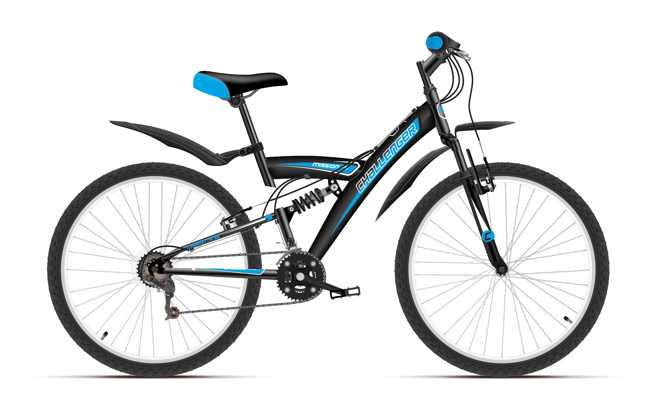 Велосипед Challenger Mission FS 26 2018 чёрный-синий-белый 18 д