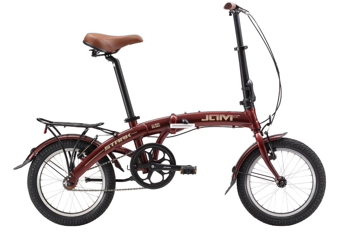 Велосипед Stark Jam 16.1 SV (2017) коричнево-серебристый one sizeГОРОДСКИЕ СКЛАДНЫЕ<br>Stark Jam 16 - компактный, манёвренный, складной велосипед, который поместится, даже в небольшом багажнике автомобиля. Велосипед оборудован ободными тормозами Promax и односкоростной трансмиссией, что упрощает его обслуживание. Геометрия рамы хорошо продумана, и имеет удобную посадку. Руль и седло регулируется по высоте. Удобная система сборки велосипеда, лёгкая алюминиевая рама, компактный багажник, подножка и крылья делают этот велосипед удобным в эксплуатации. В 2017 году производитель усовершенствовал модель, установив сквозной подседельный штырь, проходящий через кареточный узел и изменив геометрию выноса руля и механизмы складывания.<br><br>бренд: STARK<br>год: 2017<br>рама: Алюминий (Alloy)<br>вилка: Жесткая (сталь)<br>блокировка амортизатора: None<br>диаметр колес: 16<br>тормоза: Ободные (V-brake)<br>уровень оборудования: Начальный<br>количество скоростей: 1<br>Цвет: коричнево-серебристый<br>Размер: one size